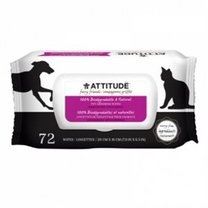 ATTITUDE GROOMING WIPES FRAGRANCE FREE 72 / pk
