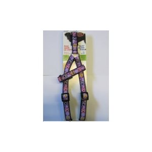 Adjustable Harness purple / paws 3 / 4'' 20'' to 30'' for dog.